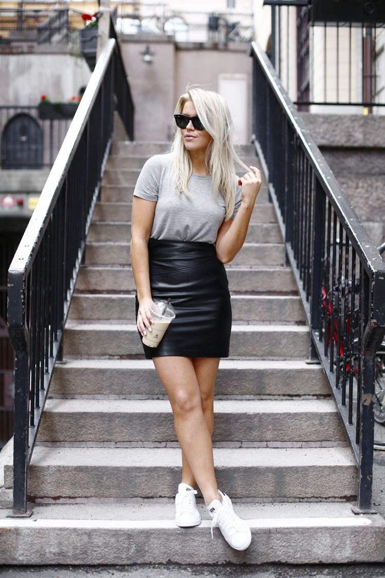 Black leather skirt sneakers, street fashion, leather skirt, sports shoes, t shirt