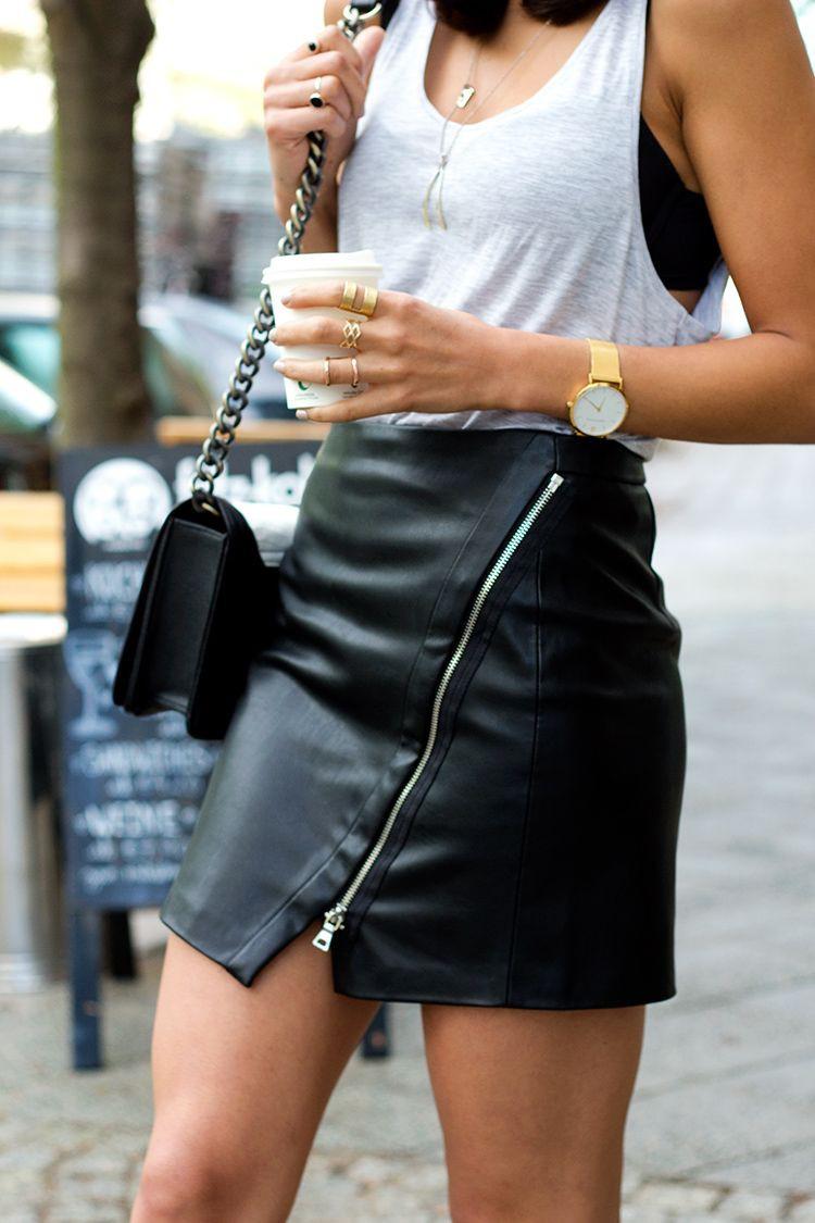 Black leather mini skirt zips