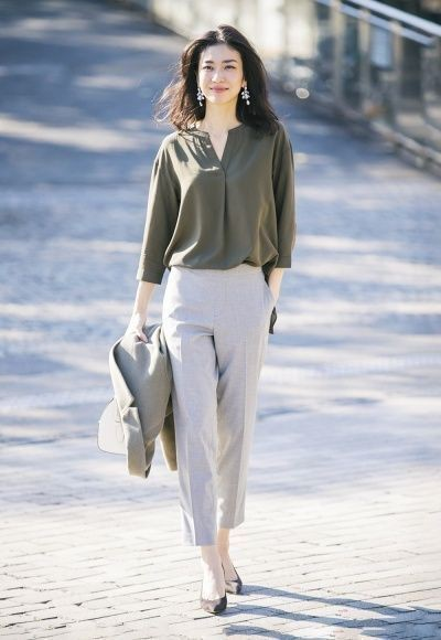 Beige and white style outfit with business casual, trousers