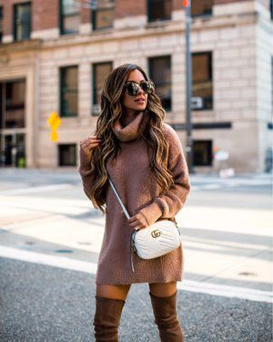 Brown outfit ideas with trousers, sweater, jacket