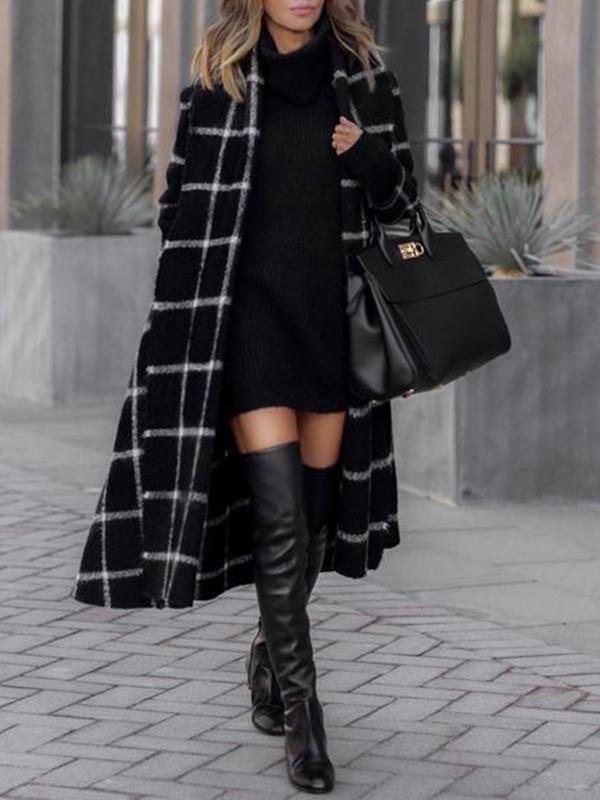 Long black plaid coat knee high boot, street fashion
