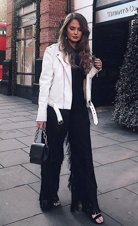 Black and white style outfit with trousers, jacket, blazer