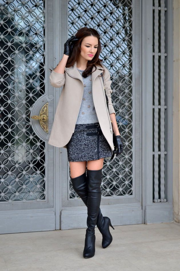 Colour combination with trousers, skirt, coat