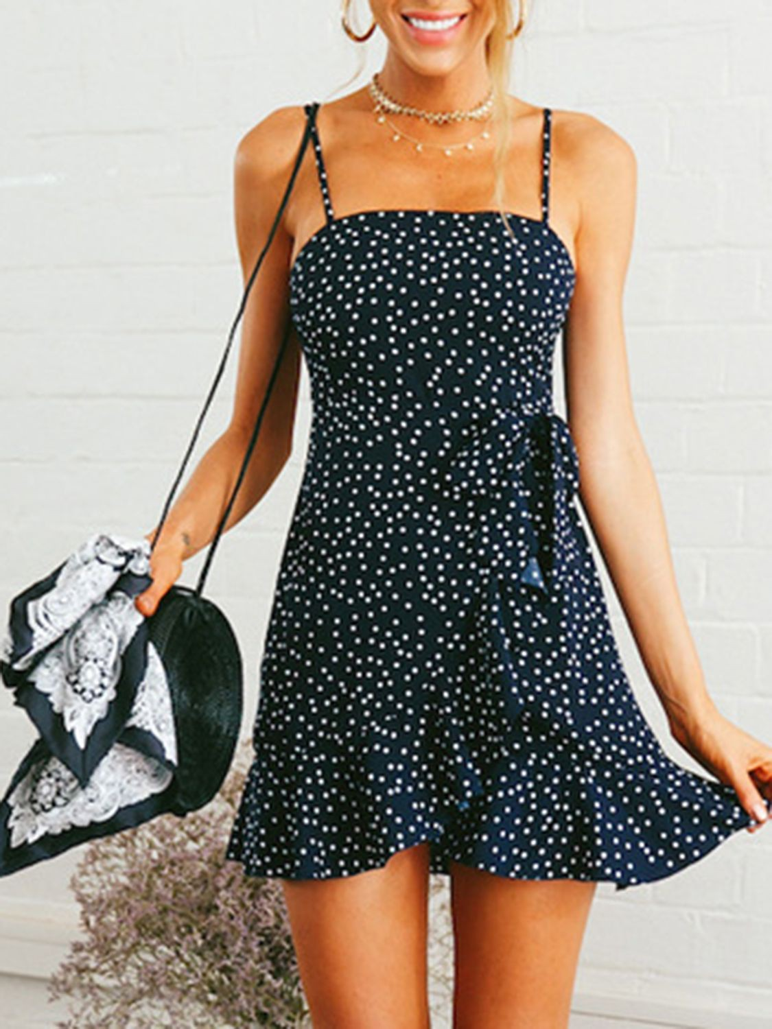 Navy blue and white colour dress with dress day dress, polka dot