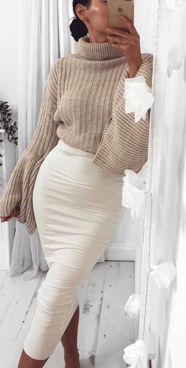 Beige and white colour ideas with sweater, skirt, polo neck