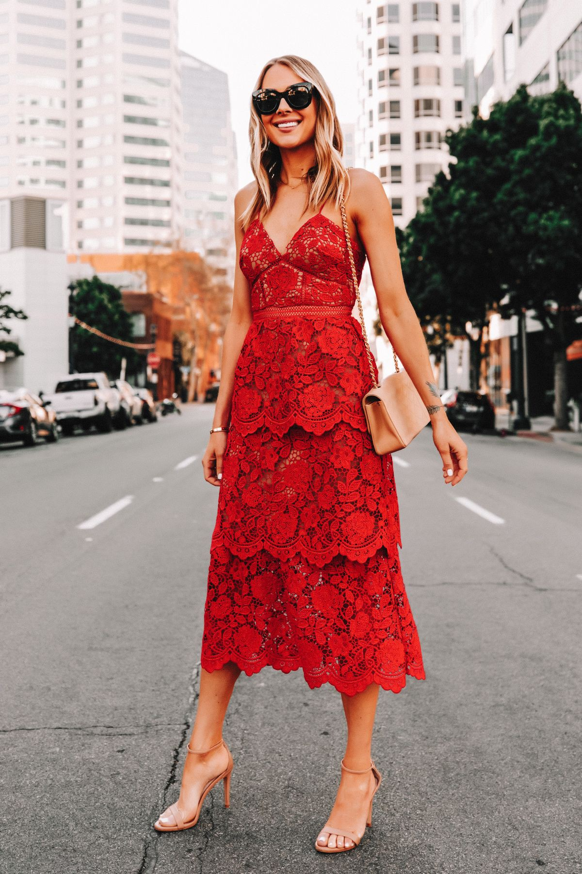 Red outfit instagram with cocktail dress, wedding dress, dress