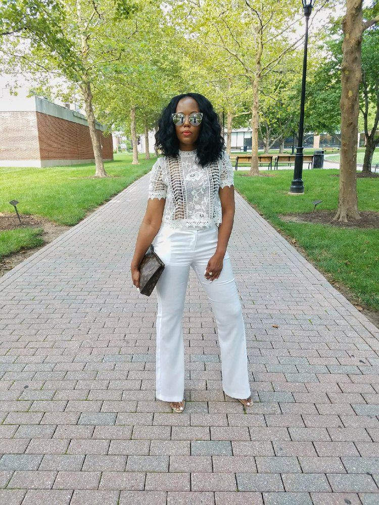 White outfit instagram with trousers, crop top, skirt