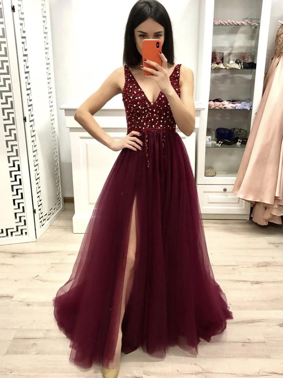 Attire prom dresses burgundy bridal party dress, cocktail dress