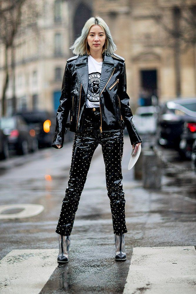 Colour outfit, you must try 70er outfit leder, leather jacket, street fashion, fashion model
