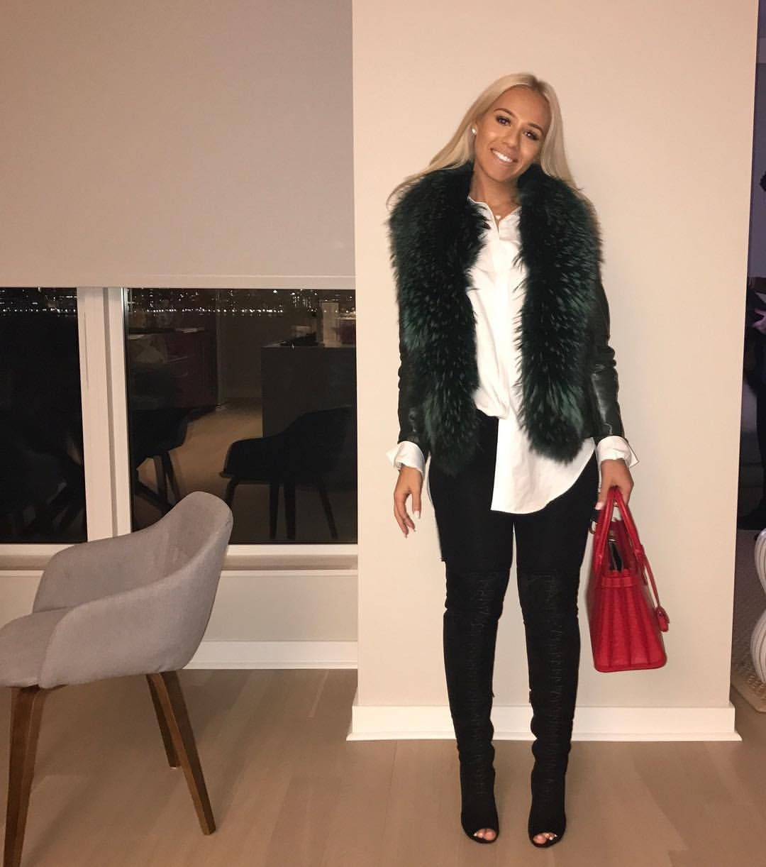 Black and white colour outfit with fur clothing, jean jacket, blazer