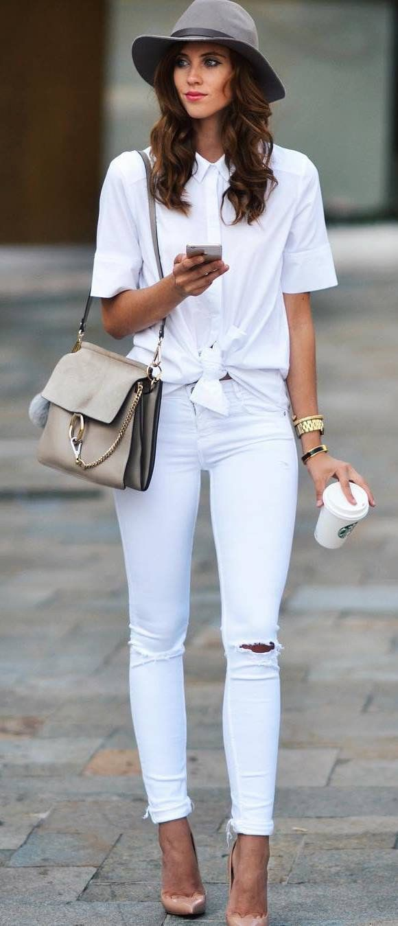 White jeans summer outfit, street fashion, casual wear, t shirt