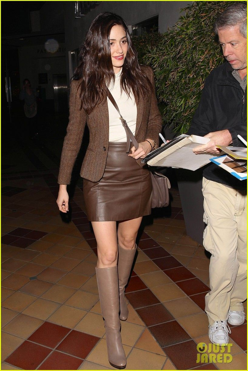 Celebrities in leather skirts and boots