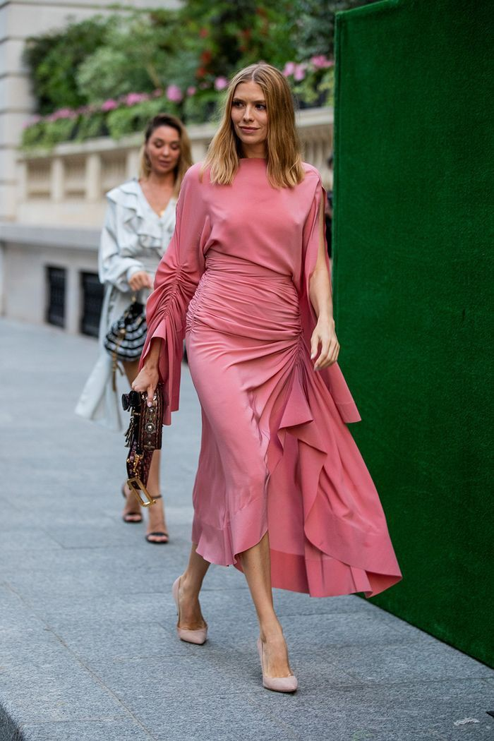 Magenta and pink colour outfit with dress, paris fashion week haute couture, new york fashion week