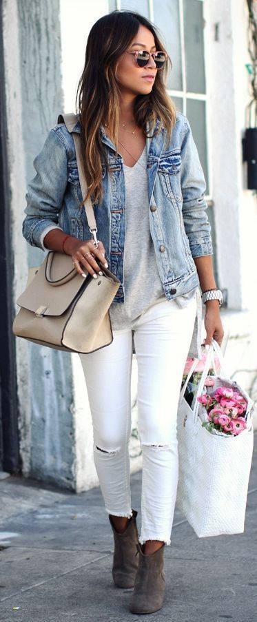 White and pink dresses ideas with jean jacket, trousers, jacket