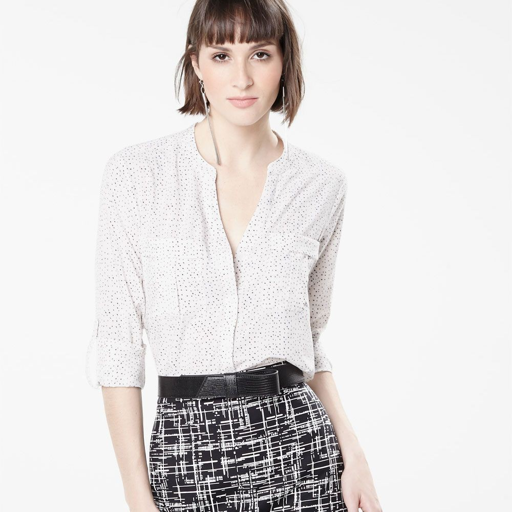 White attire with formal wear, blouse, shirt