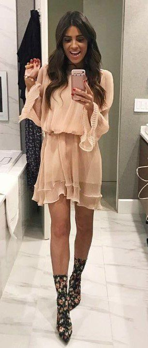 Beige classy outfit with boot, shoe, dress boot