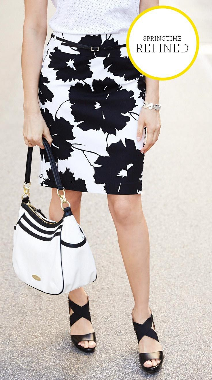 Black and white outfit ideas with pencil skirt, shorts, skirt