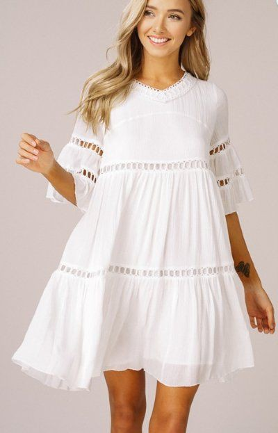 Trendy clothing ideas white babydoll dress, cocktail dress, bell sleeve, day dress