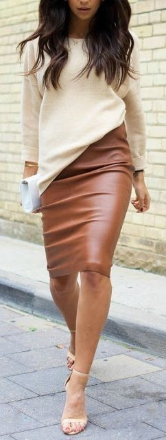 Beige and brown outfit ideas with dress leather skirt, pencil skirt, trousers