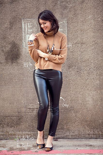 Leather pants with flats, ballet flat, photo shoot