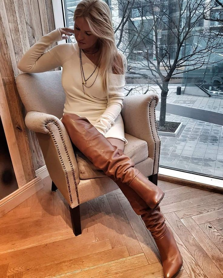 Brown leather high heel boots outfit