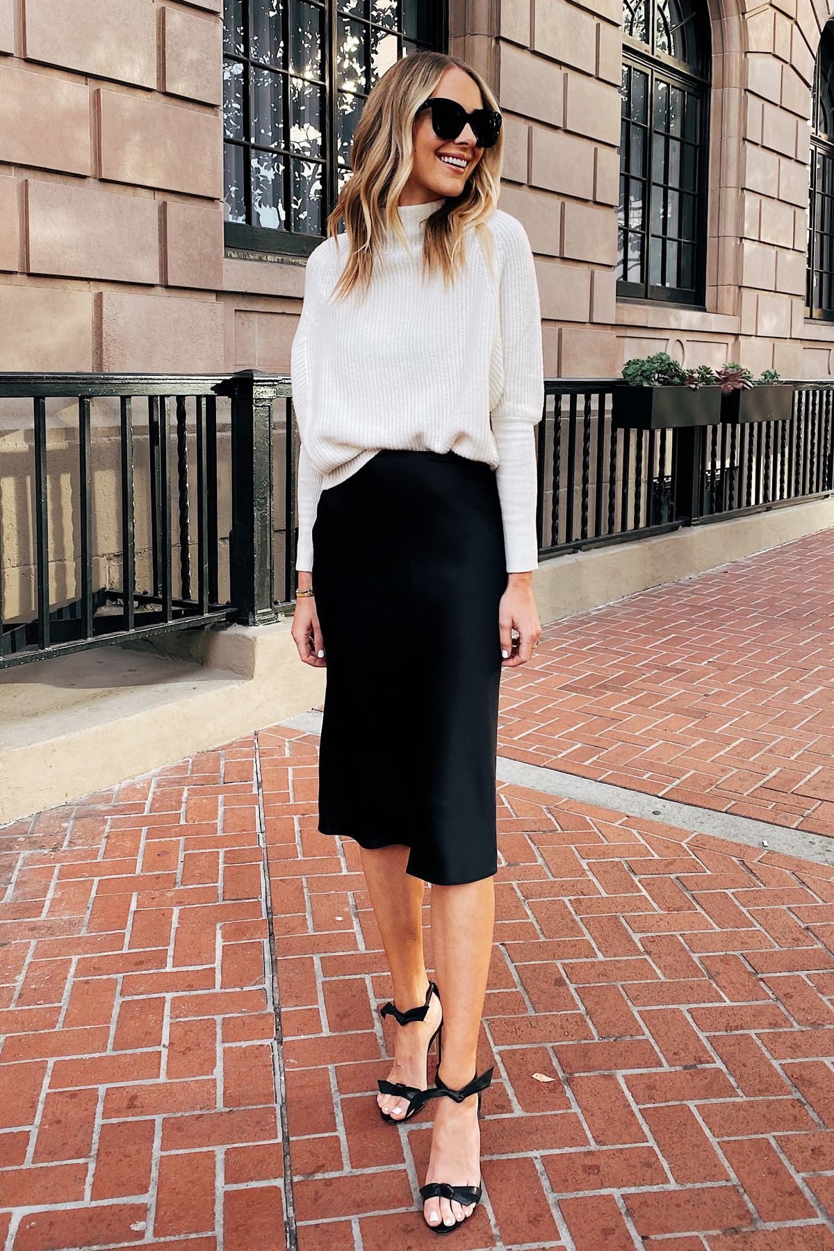 Black and white outfit ideas with pencil skirt, shirt, skirt