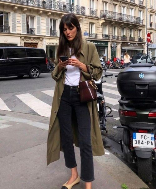 Fashion collection with dress trench coat, jeans, denim