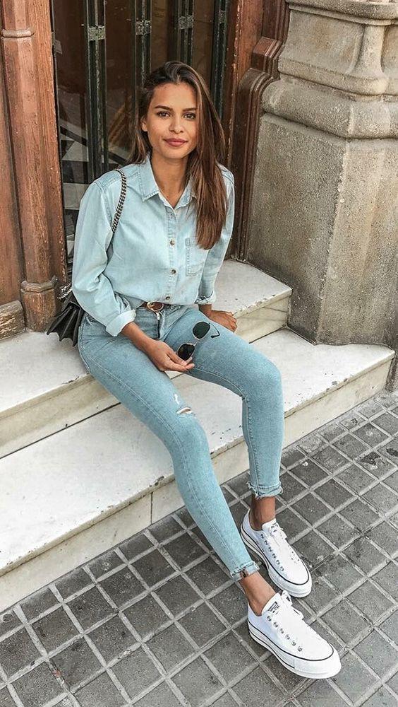 denim on denim fashion trend, skinny slim fit pants