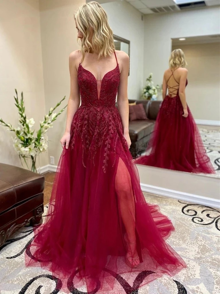 Maroon and pink outfit with bridal party dress, strapless dress, backless dress, formal wear