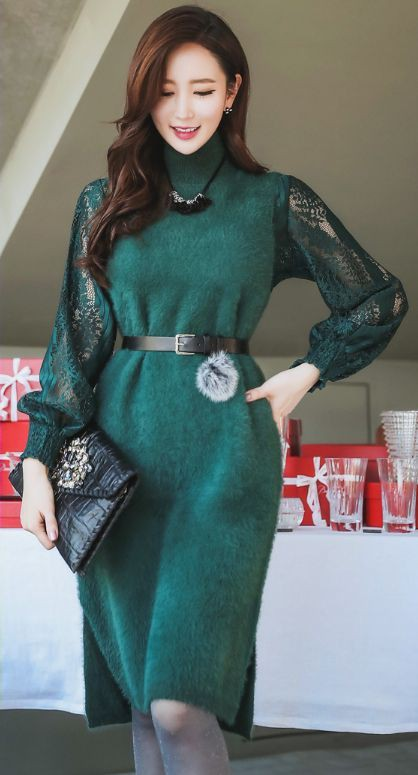 Turquoise and green dress, attire ideas, fashion model