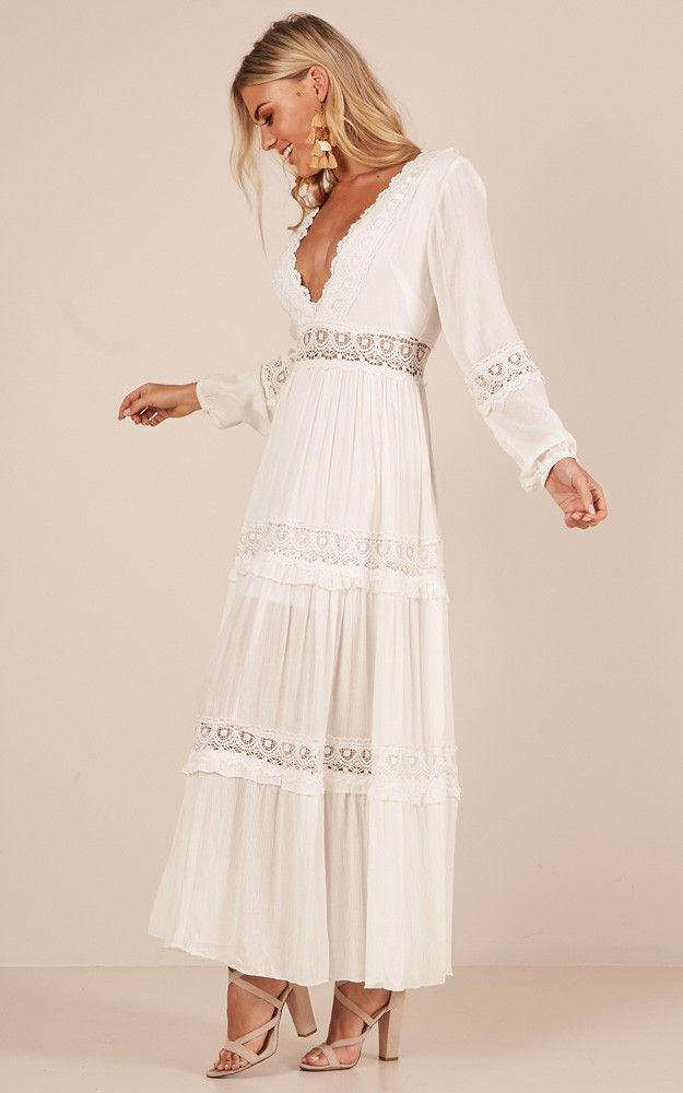 White dress maxi cotton bohemian