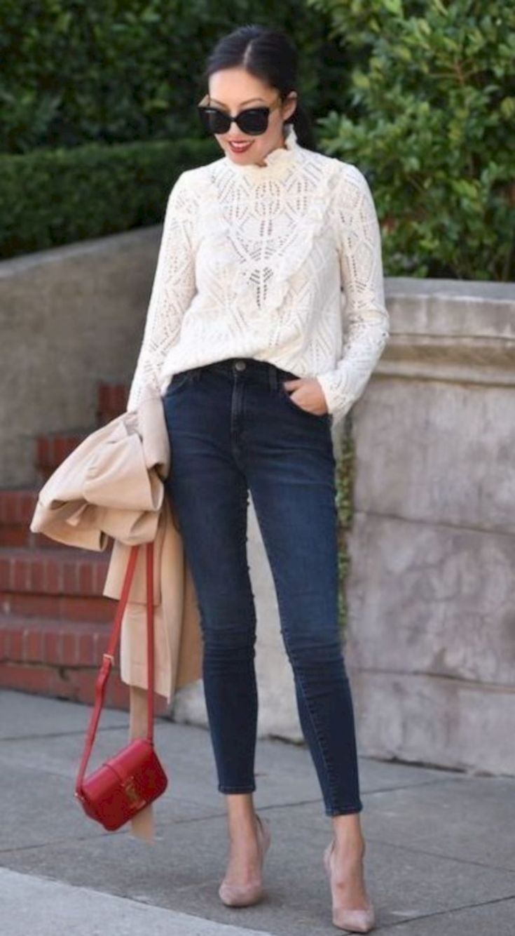 Brown and beige colour dress with trousers, blazer, denim