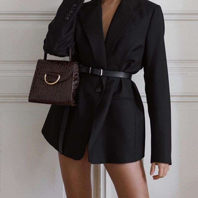 Black fashion collection with formal wear, crop top, blazer