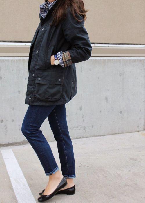 Classic barbour jacket women, street fashion, waxed jacket