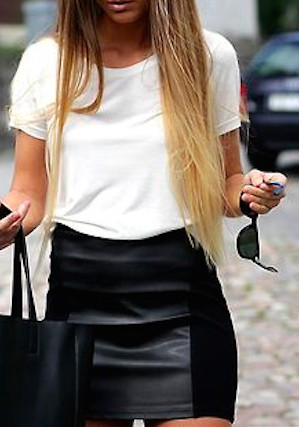 White shirt and black leather skirt outfit