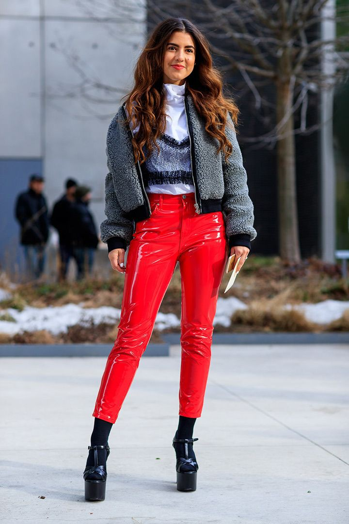 Red colour outfit, you must try with leather, jacket, denim
