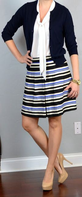 Navy white blue striped skirt outfit