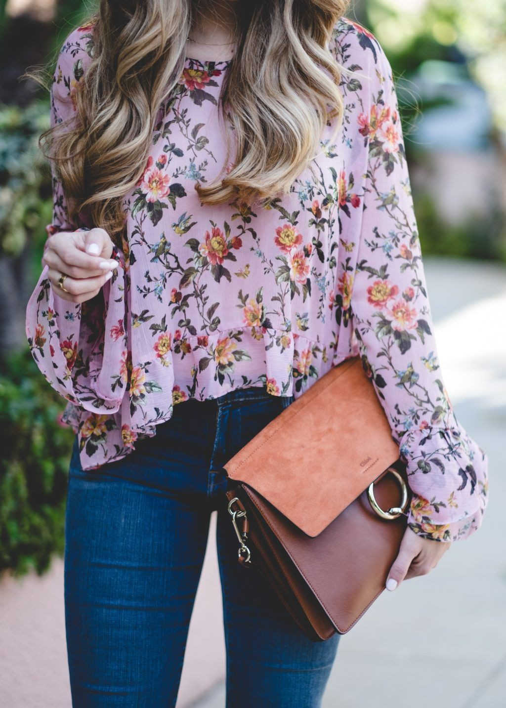 Outfit with floral blouse, street fashion, t shirt