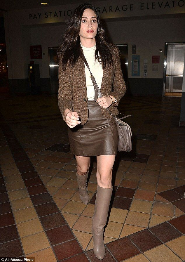 Colour outfit, you must try emmy rossum boots thigh high boots, leather skirt
