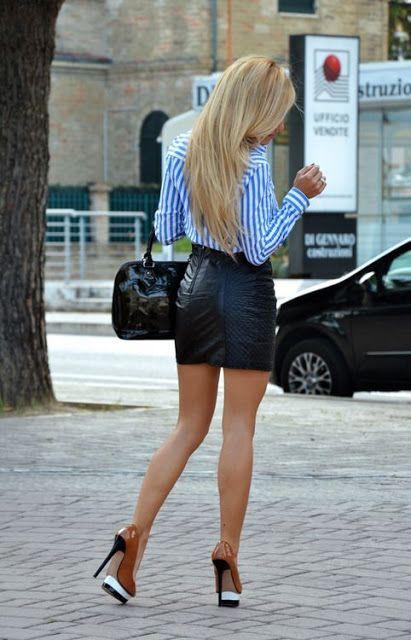 Legs heels leather mini skirt