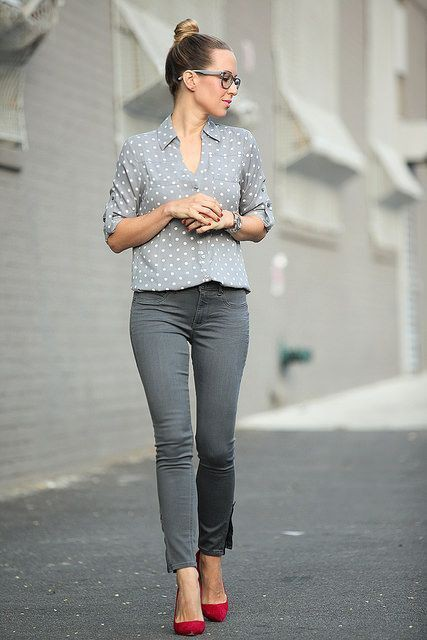 Grey skinny jeans outfit slim fit pants, business casual