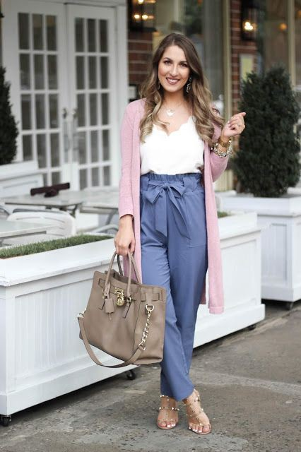 Pink paper bag pants outfit