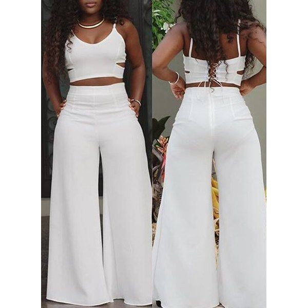 White palazzo pants with crop top