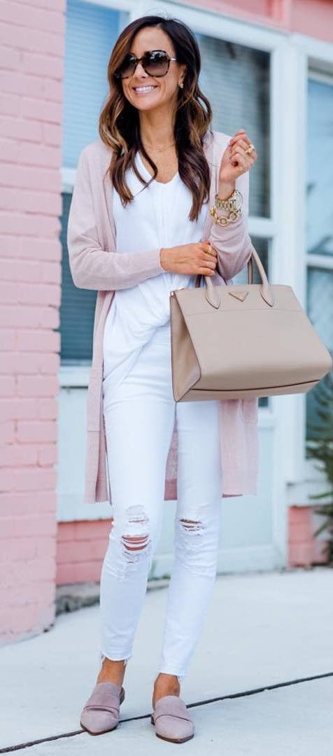 White and pink lookbook fashion with leggings, tights, blazer