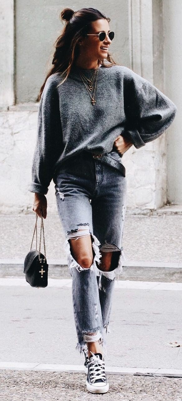 Sweater and jeans outfit, street fashion, ripped jeans, casual wear