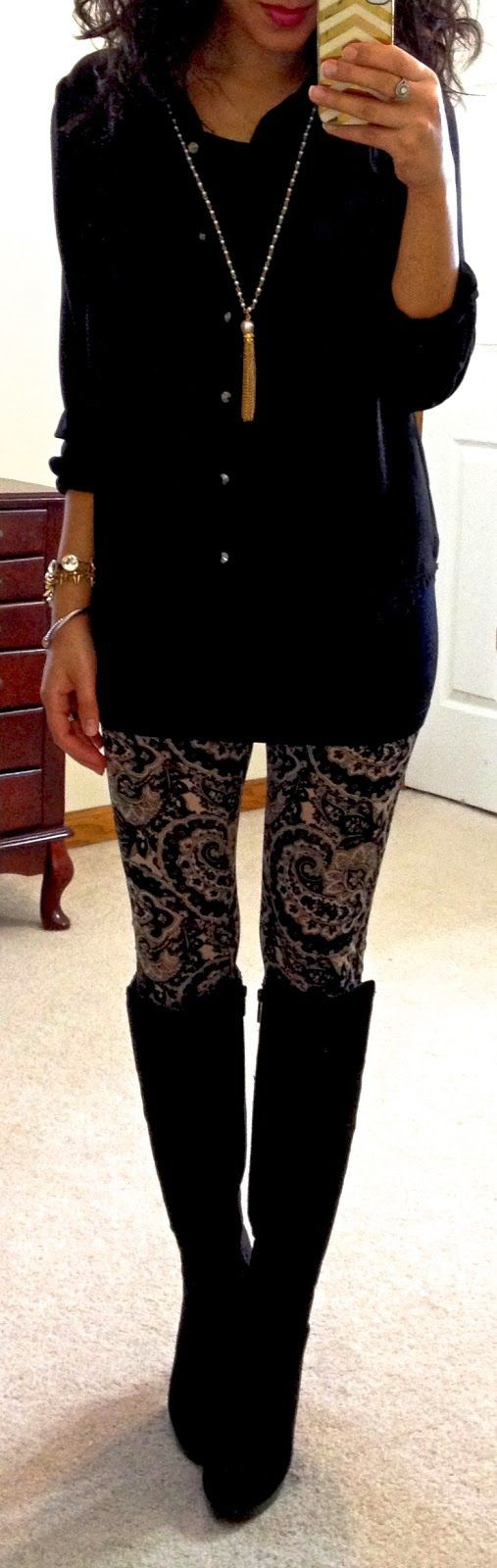 Black and gold leggings outfit