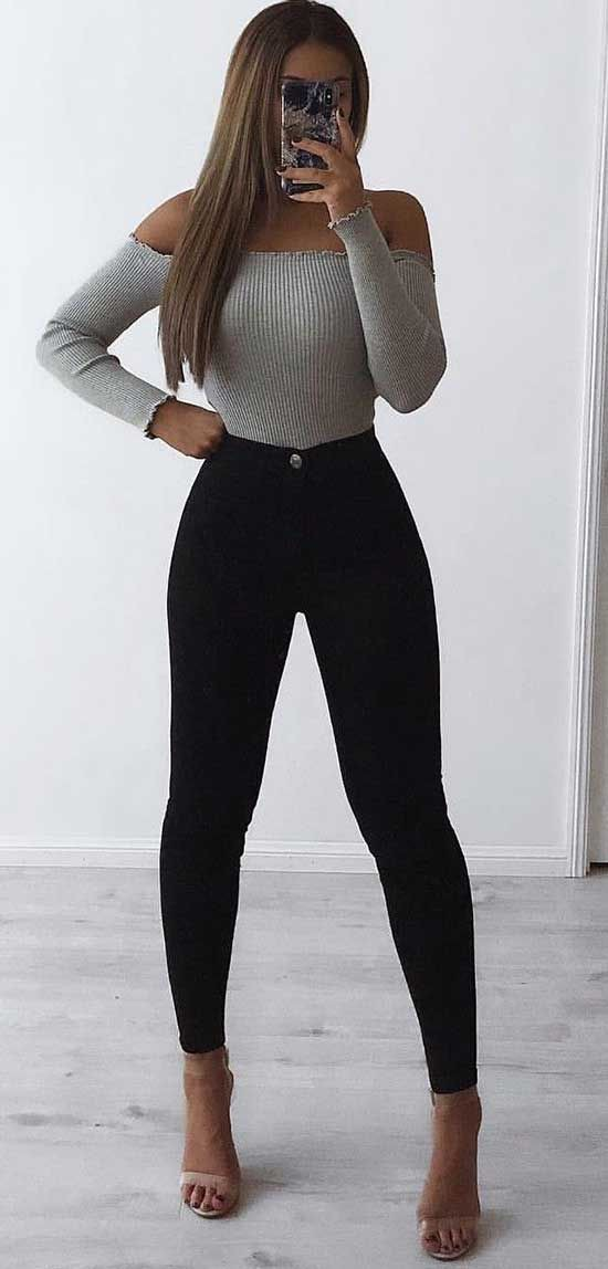 Black high waisted jeans outfit