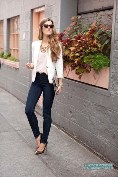 White blazer outfit ideas, business casual, street fashion, informal wear, rosa blazer, casual wear