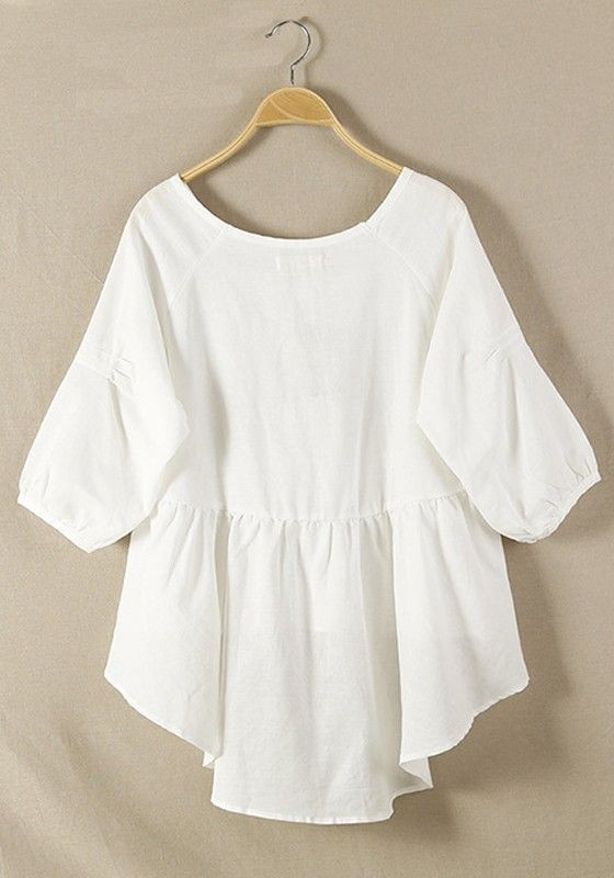 White colour combination with bell sleeve, dress shirt, sweater