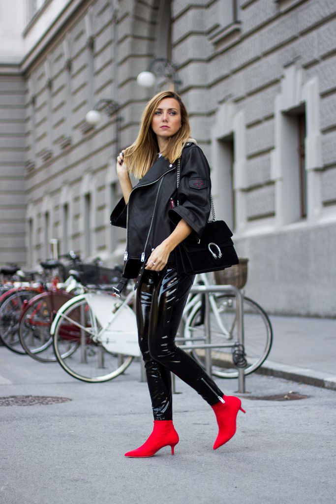Black pants red boots outfit